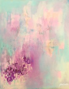 Oil painting with abstract theme, in violet, pink and blue.