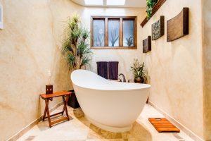 A small hot tub
