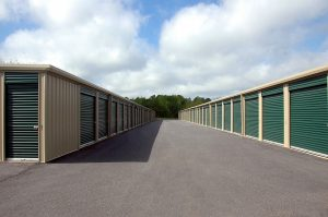 Rows of storage units