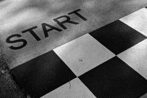 start written on floor