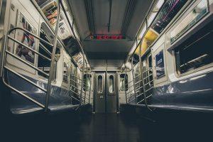 Best ways to commute in Manhattan . Subway interior captured.