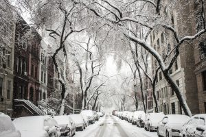 A street in Brooklyn in the winter, covered in snow is one of the scenes you'll see when you move in bad weather.