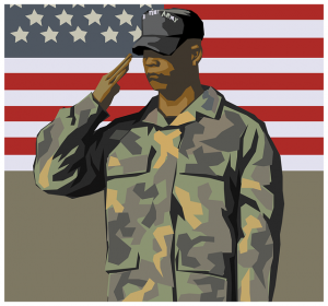 Soldier saluting in front of USA flag