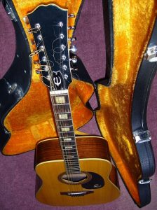 A twelve string guitar in a padded hard case.