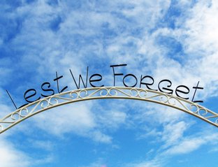 Sign with words lest we forget