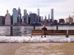 Image of Manhattan skyline seen from Brooklyn in wintertime