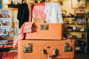 Half-packed suitcases