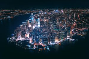 overview of night lights in NYC - NYC places for single people