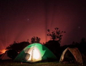 two tents under starry sky
