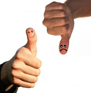 Picture of thumbs up and down