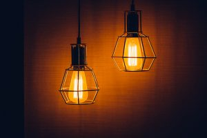 Two industrial styled pendant lamps