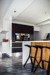 Remodel your kitchen on a budget like this slick black and white one