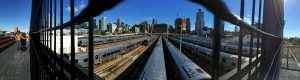 Panoramic view of trains in NYC