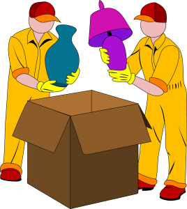 two movers in yellow packing lamps