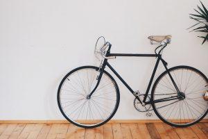 bike next to a white wall