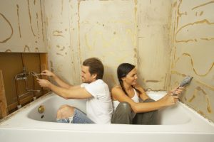A couple enjoys doing bathroom upgrades