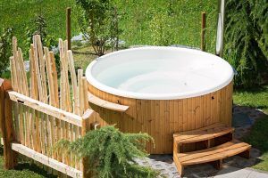 A hot tub in the garden