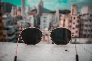 Sunglasses on a balcony