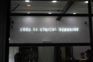 A sign that says: Code of ethical behavior