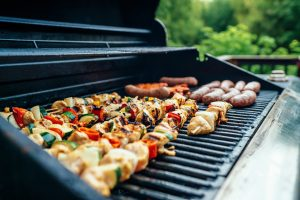 Meet and vegetables on the grill